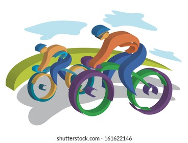 Two bikers. Two  bikers traveling on the road. Colorful Vector illustrations.