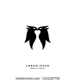 Two Bird Logo Vector Design Template . on white background .