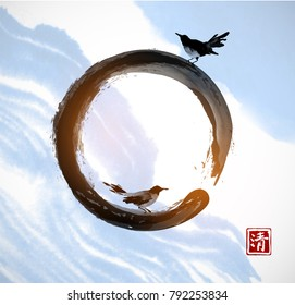 Two birds, enso zen circle and blue sky with white clouds. Hieroglyph - clarity. Traditional oriental ink painting sumi-e, u-sin, go-hua.