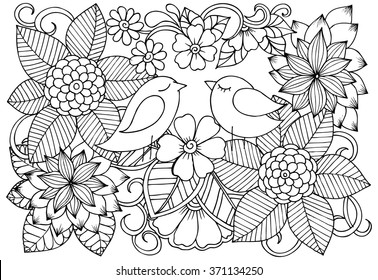 Two birds in love and doodle flowers. Hand drawing flowers in black and white