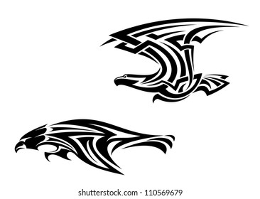 Two birds mascots in tribal style for tattoo design, such a logo. Jpeg version also available in gallery