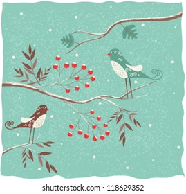 Two birds on the branch. Winter background. Vector