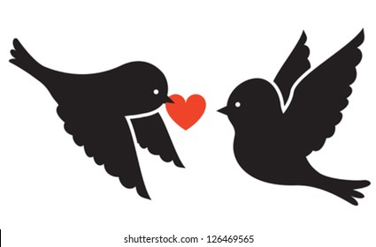 Two birds and red heart