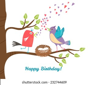 Two birds siting in nets with eggs  on tree branch and singing. Vector illustration