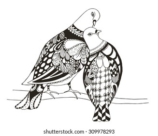 Two birds are sitting on a tree branch, zentangle stylized pigeons, vector, illustration, freehand pencil, love