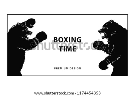two black bears boxing gloves silhouette stock vector royalty free