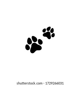 two black cat footprints.  icon isolated on white. Vector flat illustration.  icon with kitty paw trace, footstep. Pet's shop, grooming. Pet hair salon Animal protection, care concept.