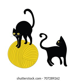 Two black cats with ball of wool. Vector illustration on white background