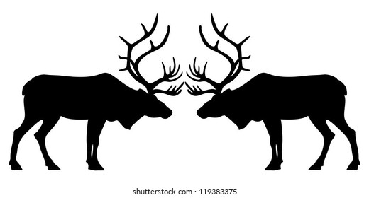 Two Black Deers Silhouettes on White Background, Vector Illustration