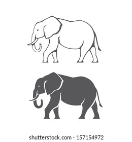 Two black elephant silhouettes in vector
