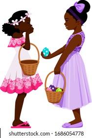 Two black girls sharing Easter baskets.