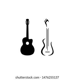 Two black guitars logo icon vector.