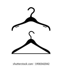 Two black hanger flat design icons on white background