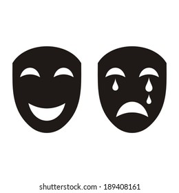 Two black happy and sad theatrical masks isolated