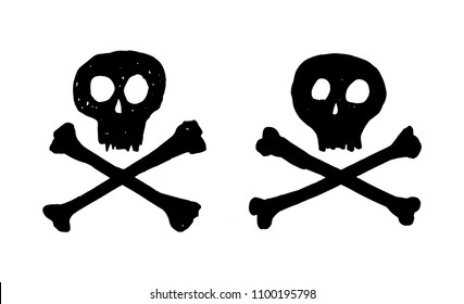 Two black pirate skulls with crossed bones on white background vector art easy to use