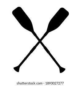 Two black silhouette of crossed oars. Rowing oars. Water sport. Icon of boat oars. Vector illustration.