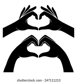 Two black silhouette hands form a heart shape. Vector illustration