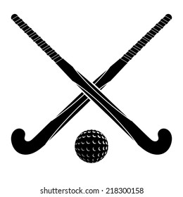 Two black silhouettes sticks for field hockey and ball on a white background. Vector illustration.