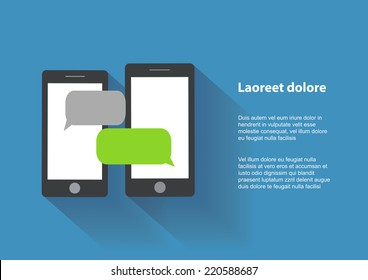 Two black smartphones with blank speech bubbles on the screen. Text messaging flat design concept. Eps 10 vector illustration