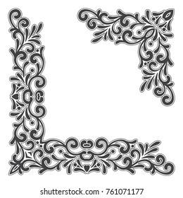 Two black vintage corners with outline on white background. Elegant hand drawn retro floral border. Design for wedding invitation or menu, banner, postcard, save the date card. Vector illustration.