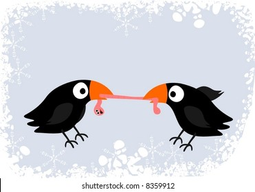 Two blackbirds fighting for worm - vector.
