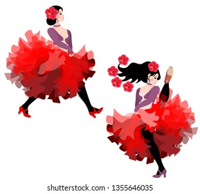 Two black-haired young girls in lush red skirts dancing cancan isolated on white background in vector.