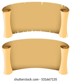 Two blank banners in medieval style illustration