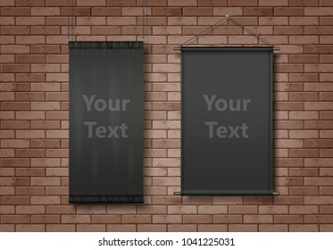 Two blank black textile advertising banners on brick wall background. Vector mockup template for adding your content or design, business presentation