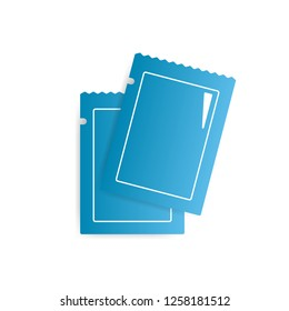 Two blank blue glossy sachets vector icon. Bag for medication, spice or sugar.