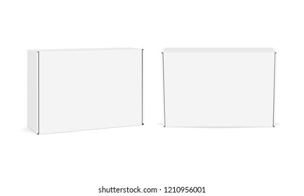 Two blank cardboard boxes - front and side view mock up isolated on white background. Vector illustration