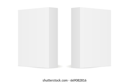 Two blank cardboard boxes isolated on white background. Mockups to easy  change colors. Ready for your design. Vector illustration