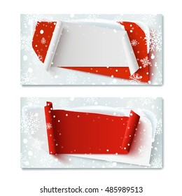 Two, blank, Christmas Time, winter gift voucher templates, with abstract banners, snow and snowflakes. Vector illustration.