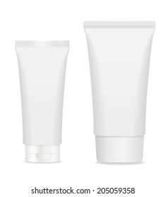 Two blank cosmetic tubes isolated on white. Place for your text. Vector