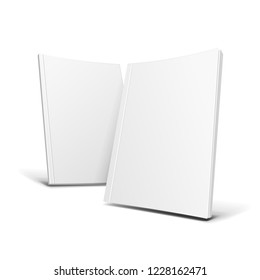 Two Blank Covers Of Magazine, Book, Booklet, Brochure Set. Illustration Isolated On White Background. Mock Up Template Ready For Your Design. Vector EPS10