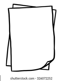 two blank paper / cartoon vector and illustration, black and white, hand drawn, sketch style, isolated on white background.