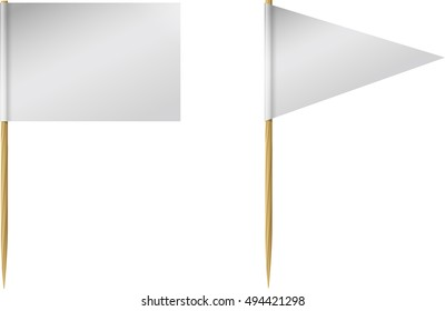 Two blank, or white, toothpick flags, one rectangle and one triangle, on wooded toothpicks.