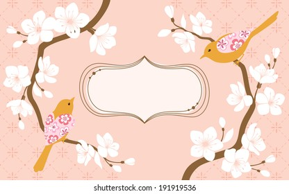 Two blossom cherry branches with flower bird and space for text.