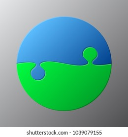 Two Blue Green Piece Puzzle Circle Diagram. Round Puzzle Business Presentation. Circle Puzzle Infographic. 2 Step Process Diagram. Section Compare Banner. Jigsaw Infographics. Information Puzzle Desi
