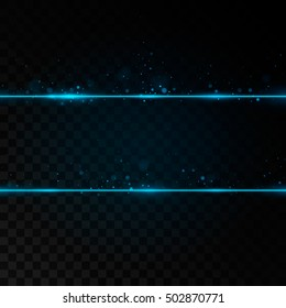 Two blue neon lines with light effects. Isolated on black transparent background. Vector illustration, eps 10.