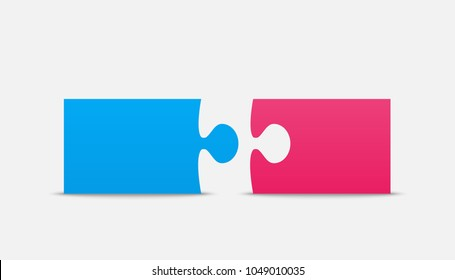 Two Blue Pink Piece Puzzle Infographic Presentation. 2 Step Square Business Diagram. Section Compare Service Puzzle Banner. Vector Illustration Template Shape. Jigsaw Object. Puzzle Couple. Pieces.