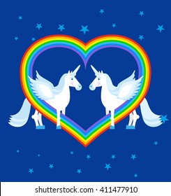 Two blue unicorn and rainbow in heart shape. Fantastic animals on sky. LGBT sign. Fabulous beast gay character