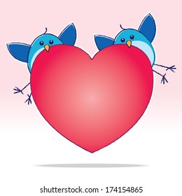 Two Bluebirds carrying a Big Red Heart on a Pink Gradient Background