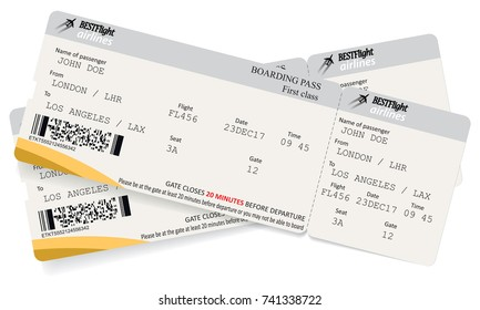 Two boarding pass tickets. Concept of trip or travel