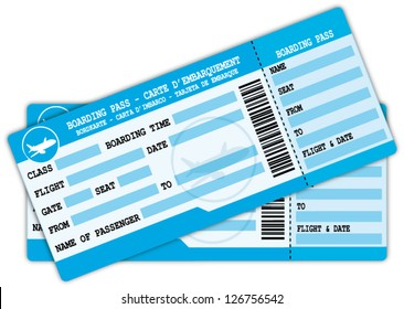 Two boarding passes. Blue flight coupons. Vector icon.