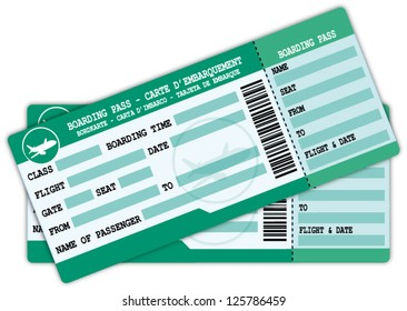 Two boarding passes. Green and blue flight coupons vector illustration.