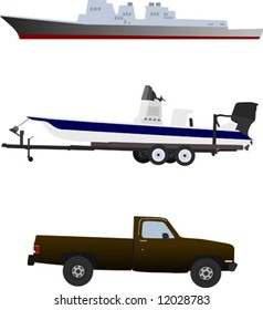 Two boats and a truck.