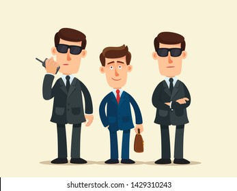 Two bodyguards in black sunglasses guard businessman. Security guard agency. Business vector illustration, flat design, cartoon style. Isolated background.
