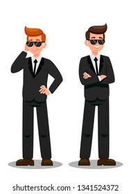Two Bodyguards on Assignment Cartoon Characters. Security Officers with Headphones Flat Vector Illustration. FBI Secret Service. Security Agency Personnel. Secret Agent, Protection Services Clipart