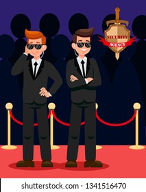 Two Bodyguards on Red Carpet Cartoon Characters. Security Officers wearing Black Suits Flat Vector Illustration. VIP Guardians on Mission Color drawing. Security Agency Emblem with Lettering