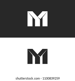 Two bold letters MY monogram logo mockup, black and white overlapping wedding initials M and Y, creative paper symbols YM emblem.